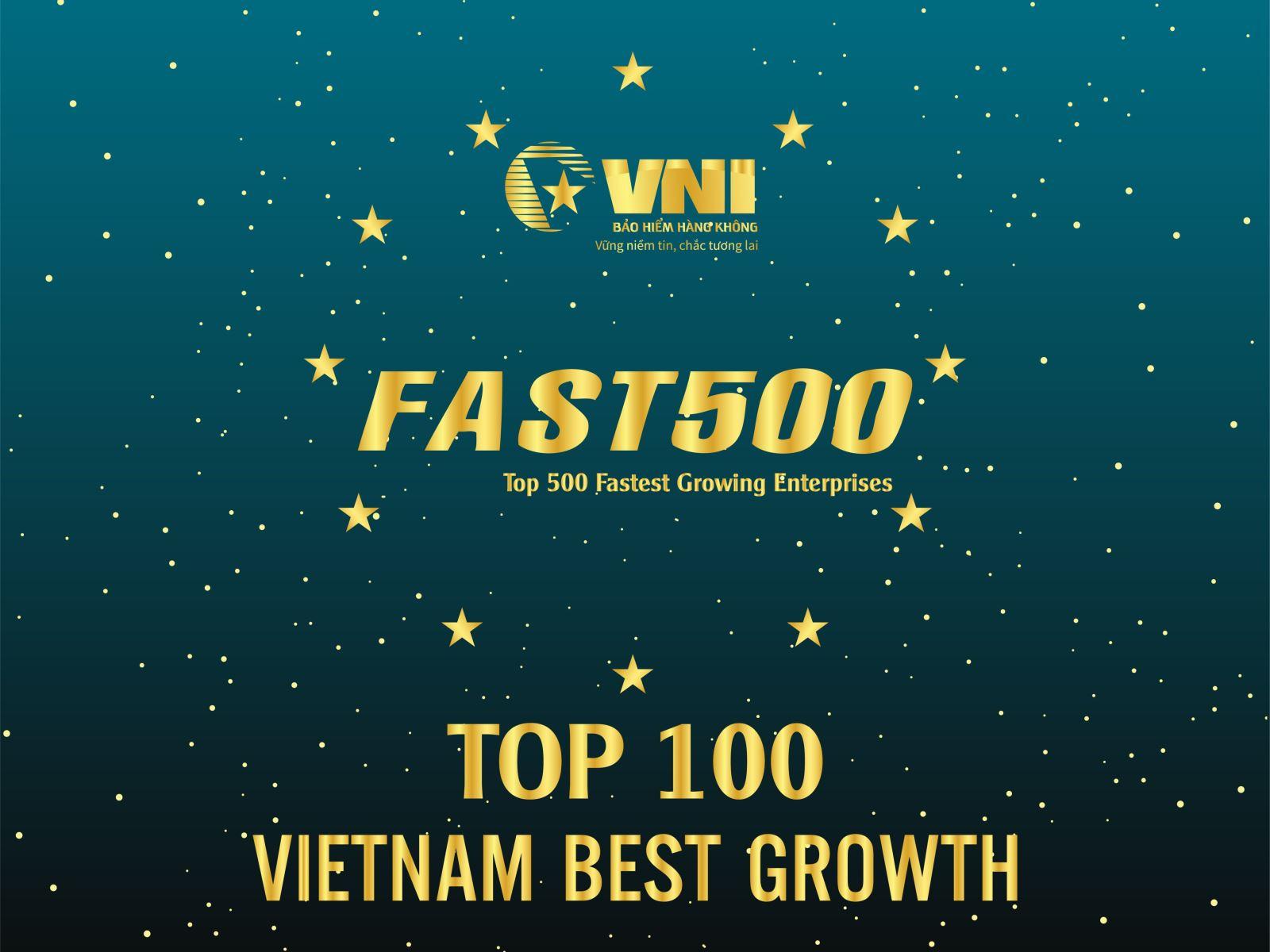 Bảo hiểm Hàng không (VNI) trong TOP 500 Doanh nghiệp tăng trưởng nhanh nhất Việt Nam