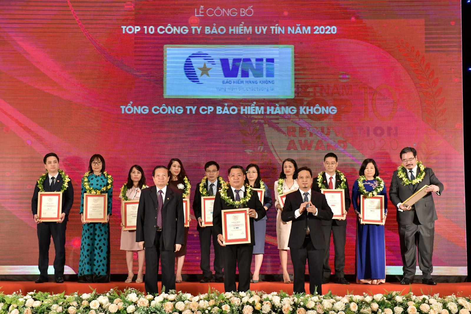 VNI VINH DỰ NHẬN DANH HIỆU TOP 10 CÔNG TY BẢO HIỂM  PHI NHÂN THỌ UY TÍN VÀ FAST500 NĂM 2020