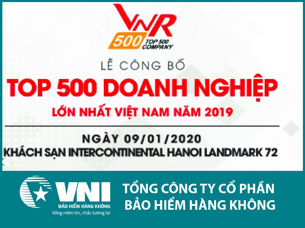 Bảo hiểm Hàng không (VNI) trong TOP 500 Doanh nghiệp tư nhân lớn nhất Việt Nam